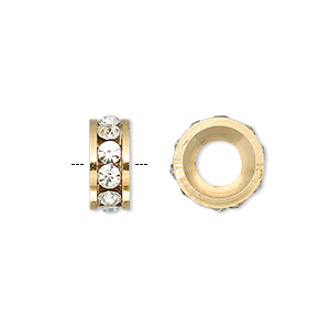 bead, dione, gold-finished brass and czech crystal, crystal clear, 12x5mm rondelle with 6mm hole. sold per pkg of 2.