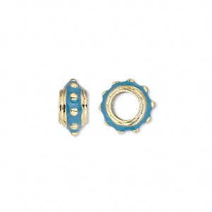 bead, dione, gold-finished pewter (zinc-based alloy) and enamel, blue, 12x6mm beaded rondelle with 5mm hole. sold individually.