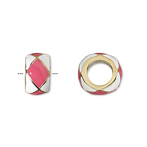 bead, dione, gold-finished pewter (zinc-based alloy) and enamel, opaque pink and white, 13x7mm rondelle with diamond design, 7mm hole. sold individually.