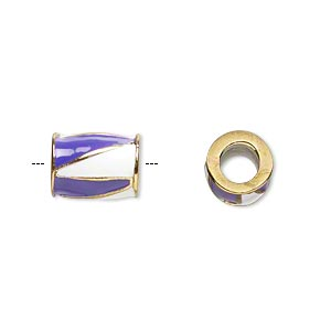 bead, dione, gold-finished pewter (zinc-based alloy) and enamel, opaque purple and white, 12x9mm barrel with triangle design, 5mm hole. sold individually.
