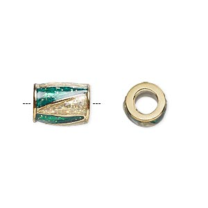 bead, dione, gold-finished pewter (zinc-based alloy) and enamel, transparent green and clear with glitter, 12x9mm barrel with triangle design, 5mm hole. sold individually.
