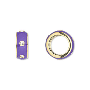 bead, dione, gold-finished pewter (zinc-based alloy) and enamel with swarovski crystals, purple and crystal clear, 14x5.5mm rondelle with 9.5mm hole. sold individually.