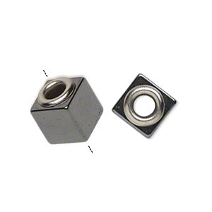 bead, dione, hemalyke™ (manmade) and imitation rhodium-plated brass grommets, 12x10mm cube with 4-4.5mm hole. sold per pkg of 4.