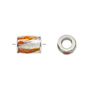 bead, dione, imitation rhodium-finished pewter (zinc-based alloy) and enamel, transparent orange and clear with glitter, 12x9mm barrel with triangle design, 5mm hole. sold individually.