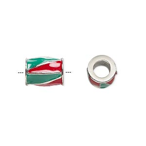 bead, dione, imitation rhodium-finished pewter (zinc-based alloy) and enamel, opaque red and green, 12x9mm barrel with triangle design, 5mm hole. sold individually.