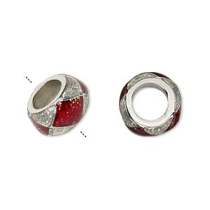 bead, dione, imitation rhodium-finished pewter (zinc-based alloy)/epoxy/enamel, transparent red and clear with glitter, 13x7mm rondelle with diamond design, 7mm hole. sold individually.