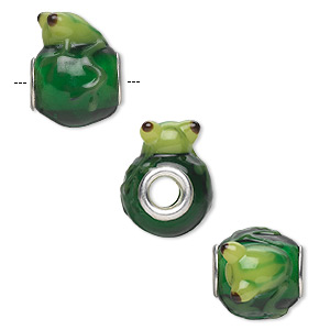 bead, dione, lampworked glass and silver-plated brass grommets, semitransparent green / light green / dark green, 20x16mm oval with frog, 5mm hole. sold individually.