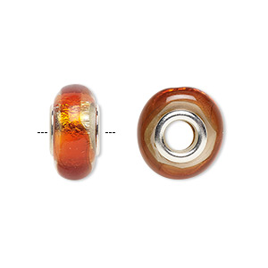 bead, dione, lampworked glass and white brass grommets, transparent orange with silver-colored foil, 14x8mm rondelle with 4.5mm hole. sold individually.