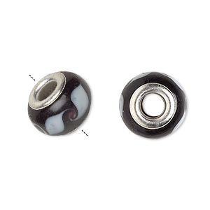 bead, dione, lampworked glass with silver-plated brass grommets, opaque black and white, 14x9mm rondelle with waves and 4.5-5mm hole. sold per pkg of 6.