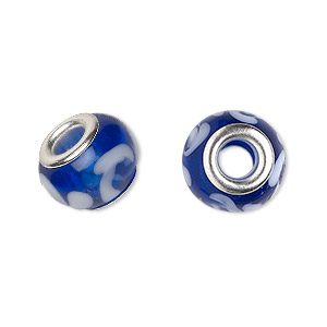 bead, dione, lampworked glass with silver-plated brass grommets, semitransparent dark blue with white, 14x9mm rondelle with swirls and 4.5-5mm hole. sold per pkg of 6.