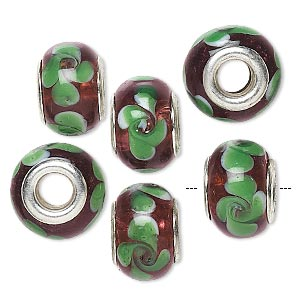 bead, dione, lampworked glass with silver-plated brass grommets, semitransparent purple and green, 14x9mm rondelle with swirls and 4.5-5mm hole. sold per pkg of 6.