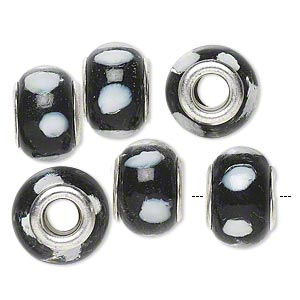 bead, dione, lampworked glass with silver-plated brass grommets, transparent clear/opaque black/white, 14x9mm rondelle with dots and 4.5-5mm hole. sold per pkg of 6.
