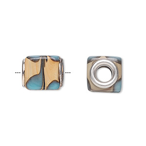 bead, dione, lampworked glass with silver-plated steel grommets, multicolored, 13x11mm cube with swirls, 4.5-5mm hole. sold per pkg of 6.