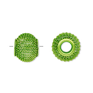 bead, dione, painted steel, green, 14x12mm mesh rondelle with 4mm hole. sold per pkg of 6.