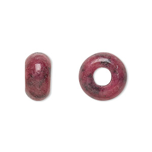 bead, dione, rhodonite (natural), 14x8mm rondelle with 5mm hole, b grade, mohs hardness 5-1/2 to 6-1/2. sold per pkg of 2.