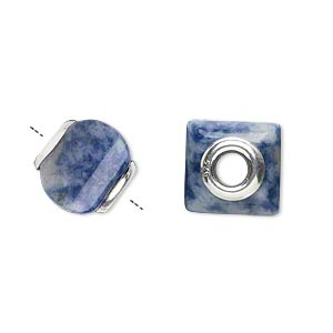 bead, dione, sodalite (natural) and sterling silver grommets, 11x10mm-13x11mm square rondelle with 4mm hole, b grade, mohs hardness 5 to 6. sold individually.