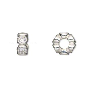 bead, dione, sterling silver and cubic zirconia, clear, 12x5mm rondelle with 4.5-5mm hole. sold individually.