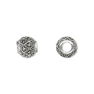 bead, dione, sterling silver and marcasite, 10mm round with 4mm hole. sold individually.
