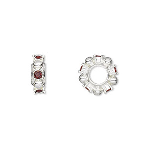 bead, dione, swarovski crystals and silver-plated pewter (tin-based alloy), garnet, 12x4mm beaded rondelle with 5mm hole. sold individually.