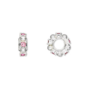 bead, dione, swarovski crystals and silver-plated pewter (tin-based alloy), rose, 12x4mm beaded rondelle with 2mm faceted round, 5mm hole. sold individually.