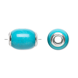 bead, dione, turquoise (imitation) and sterling silver grommets, 14x11mm-16x12mm oval with 4mm hole. sold individually.