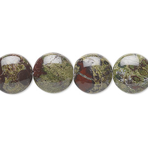 bead, dragon blood jasper (natural), 12mm puffed flat round, b grade, mohs hardness 6-1/2 to 7. sold per 16-inch strand.