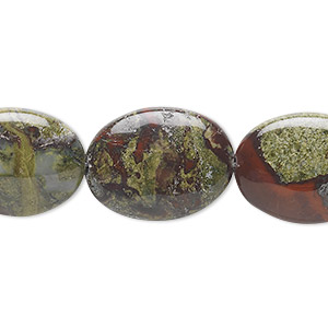 bead, dragon blood jasper (natural), 20x15mm flat oval, b grade, mohs hardness 6-1/2 to 7. sold per 16-inch strand.
