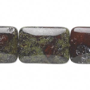 bead, dragon blood jasper (natural), 25x18mm rectangle, b grade, mohs hardness 6-1/2 to 7. sold per 16-inch strand.