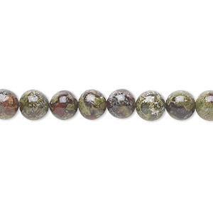 bead, dragon blood jasper (natural), 6mm round, b grade, mohs hardness 6-1/2 to 7. sold per 16-inch strand.