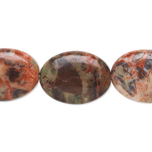 bead, dream jasper (natural), 20x15mm flat oval, b grade, mohs hardness 7. sold per 8-inch strand.