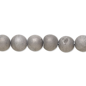 bead, druzy agate (coated), opaque grey, 8mm hand-cut round, mohs hardness 6-1/2 to 7. sold per 8-inch strand, approximately 25 beads.