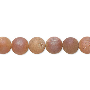 bead, druzy agate (coated), opaque matte peach, 8mm hand-cut round, b- grade, mohs hardness 6-1/2 to 7. sold per 8-inch strand, approximately 25 beads.
