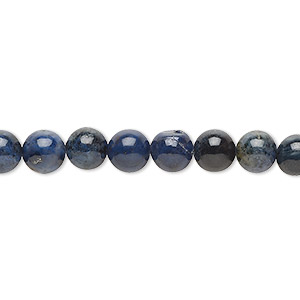 bead, dumortierite (natural), 6mm round, b grade, mohs hardness 7. sold per 16-inch strand.