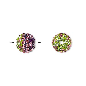 bead, egyptian glass rhinestone / epoxy / resin, green / dark purple / dark pink, 10mm round with pave wave design. sold individually.