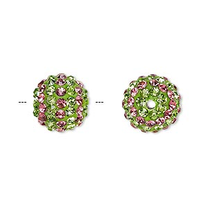 bead, egyptian glass rhinestone / epoxy / resin, green and dark pink, 12mm round with pave striped design. sold individually.