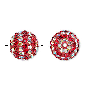 bead, egyptian glass rhinestone / epoxy / resin, red and clear ab, 14mm round with pave striped design. sold individually.