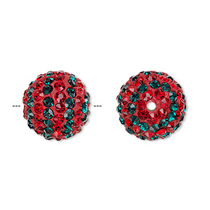 bead, egyptian glass rhinestone / epoxy / resin, red and dark green, 14mm round with pave striped design. sold individually.