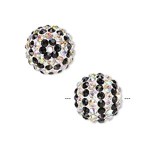 bead, egyptian glass rhinestone / epoxy / resin, white / black / clear ab, 14mm round with pave striped design. sold individually.