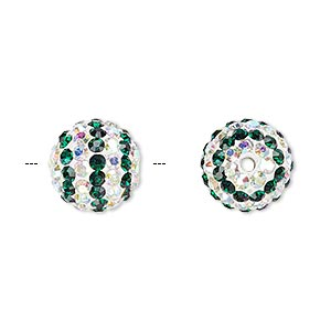 bead, egyptian glass rhinestone / epoxy / resin, white / dark green / clear ab, 12mm round with pave striped design. sold individually.