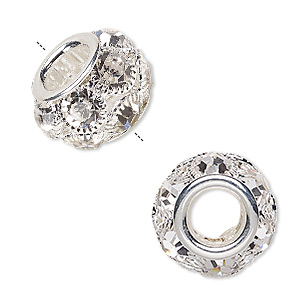 bead, egyptian glass rhinestone and silver-plated pewter (zinc-based alloy), clear, 18x12mm rondelle with 8mm hole. sold individually.