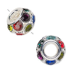 bead, egyptian glass rhinestone and silver-plated pewter (zinc-based alloy), multicolored, 18x12mm rondelle with 8mm hole. sold individually.