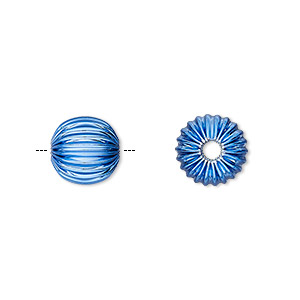 bead, electro-coated brass, blue, 10mm corrugated round. sold per pkg of 10.