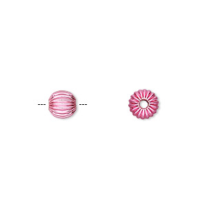 bead, electro-coated brass, pink, 6mm corrugated round. sold per pkg of 10.