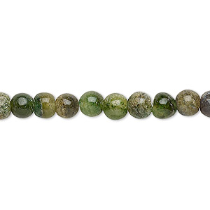 bead, emerald green aventurine (natural), 5-6mm hand-cut round, d grade, mohs hardness 7. sold per 12-inch strand.