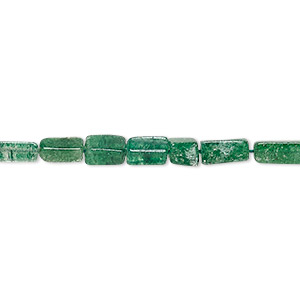 bead, emerald green aventurine (natural), 5x3mm-9x4mm hand-cut square tube, c grade, mohs hardness 7. sold per 14-inch strand.