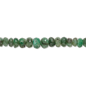 bead, emerald (natural), 4x2mm-6x4mm graduated hand-cut faceted rondelle, c- grade, mohs hardness 7-1/2 to 8. sold per 8-inch strand.