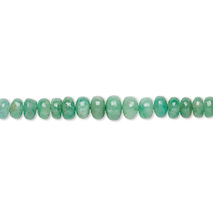 bead, emerald (oiled), 2x2mm-4x3mm graduated rondelle, c grade, mohs hardness 7-1/2 to 8. sold per 16-inch strand.