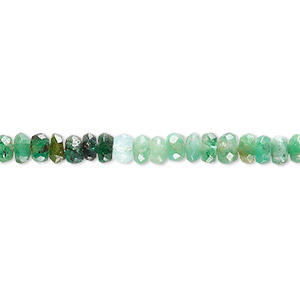 bead, emerald (oiled), shaded, 5x3mm-6x5mm graduated hand-cut faceted rondelle, c grade, mohs hardness 7-1/2 to 8. sold per 16-inch strand.