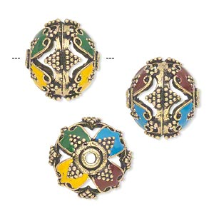 bead, enamel and antique gold-finished brass, multicolored, 17x15mm round with cutouts and dots. sold individually.