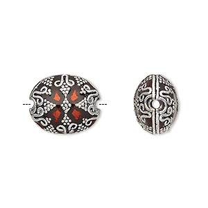 bead, enamel and antique silver-plated brass, transparent red, 16x13.5mm beaded puffed oval. sold individually.